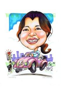 2012-07-19-vw-beetle-pink-lplate-driver-caricature-cartoon