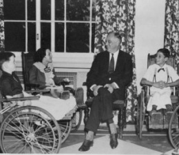 fdr-with-young-polio-patients-at-warm-springs-georgia-rehabilatative-center-he-would-never-appear-in-public-in-the-wheelchair-he-used-in-private